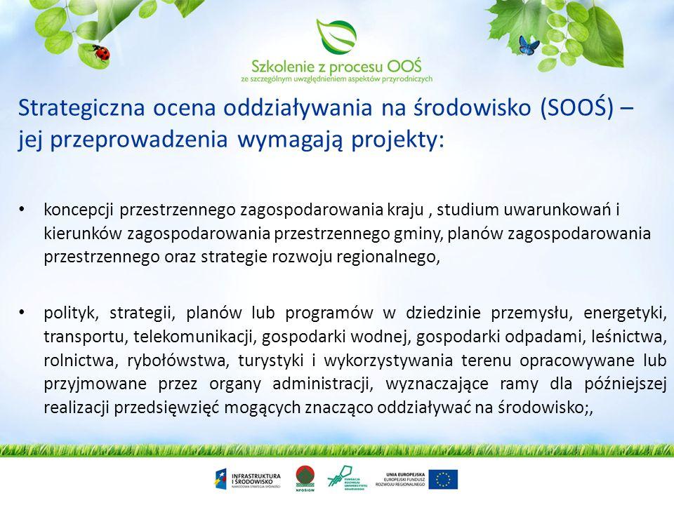 Strategiczna ocena oddziaływania na środowisko (SOOŚ) – jej przeprowadzenia wymagają projekty:
