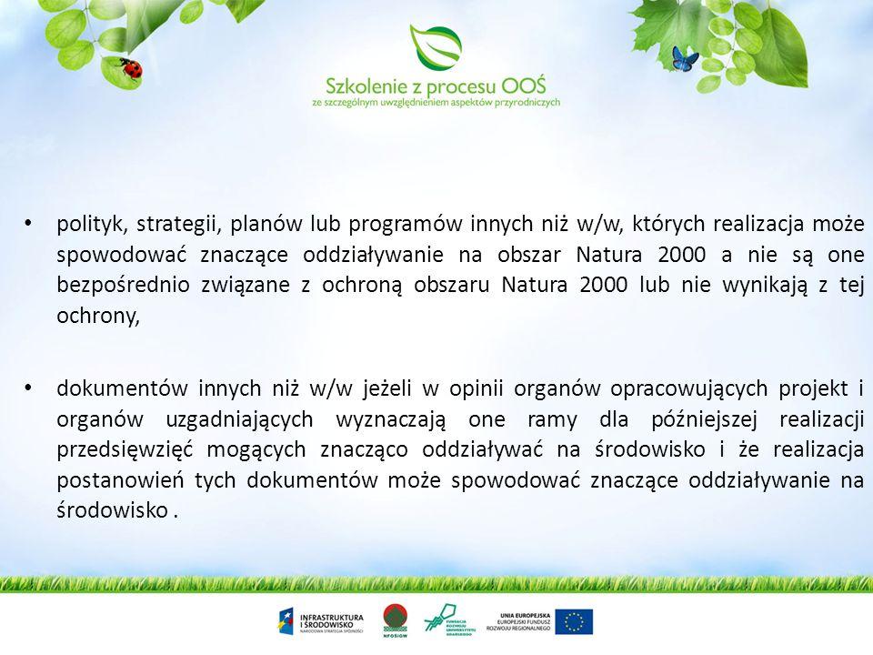 polityk, strategii, planów lub programów innych niż w/w, których realizacja może spowodować znaczące oddziaływanie na obszar Natura 2000 a nie są one bezpośrednio związane z ochroną obszaru Natura 2000 lub nie wynikają z tej ochrony,