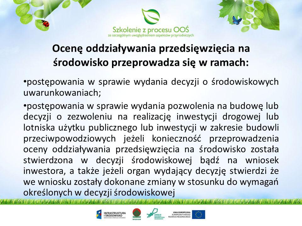 Ocenę oddziaływania przedsięwzięcia na środowisko przeprowadza się w ramach: