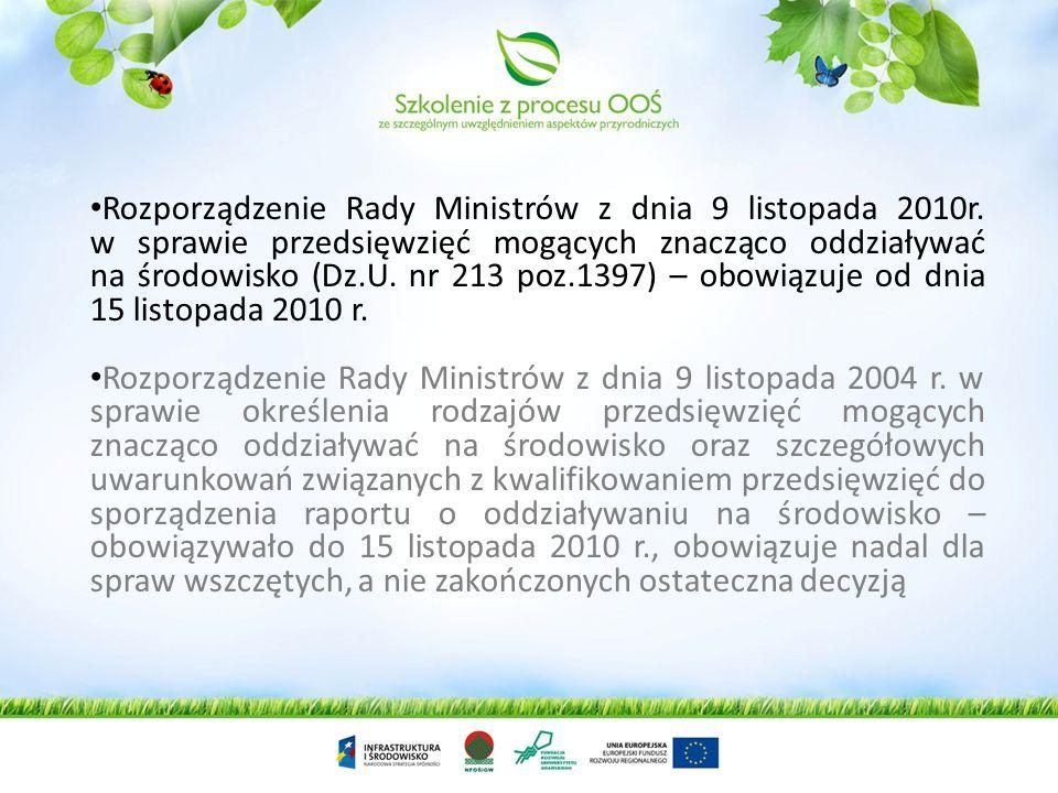 Rozporządzenie Rady Ministrów z dnia 9 listopada 2010r