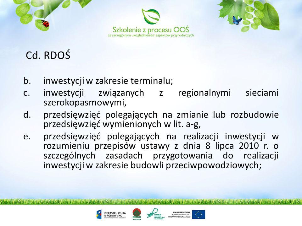 Cd. RDOŚ inwestycji w zakresie terminalu;