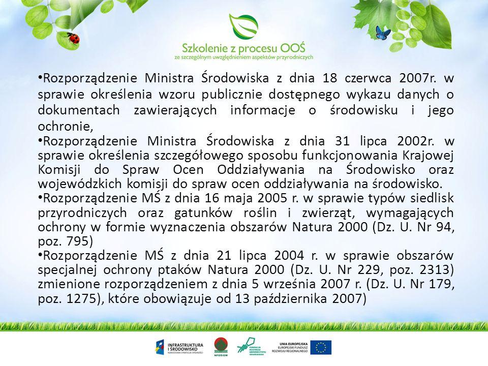 Rozporządzenie Ministra Środowiska z dnia 18 czerwca 2007r