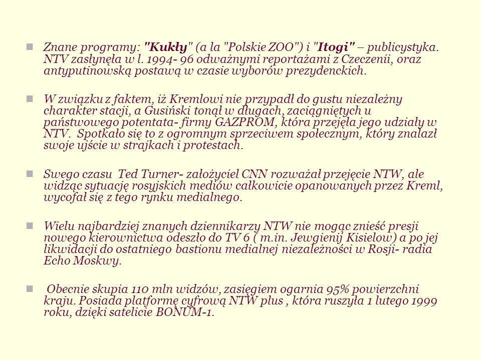 Znane programy: Kukły (a la Polskie ZOO ) i Itogi – publicystyka