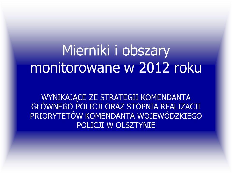 Mierniki i obszary monitorowane w 2012 roku WYNIKAJĄCE ZE STRATEGII KOMENDANTA GŁÓWNEGO POLICJI ORAZ STOPNIA REALIZACJI PRIORYTETÓW KOMENDANTA WOJEWÓDZKIEGO POLICJI W OLSZTYNIE