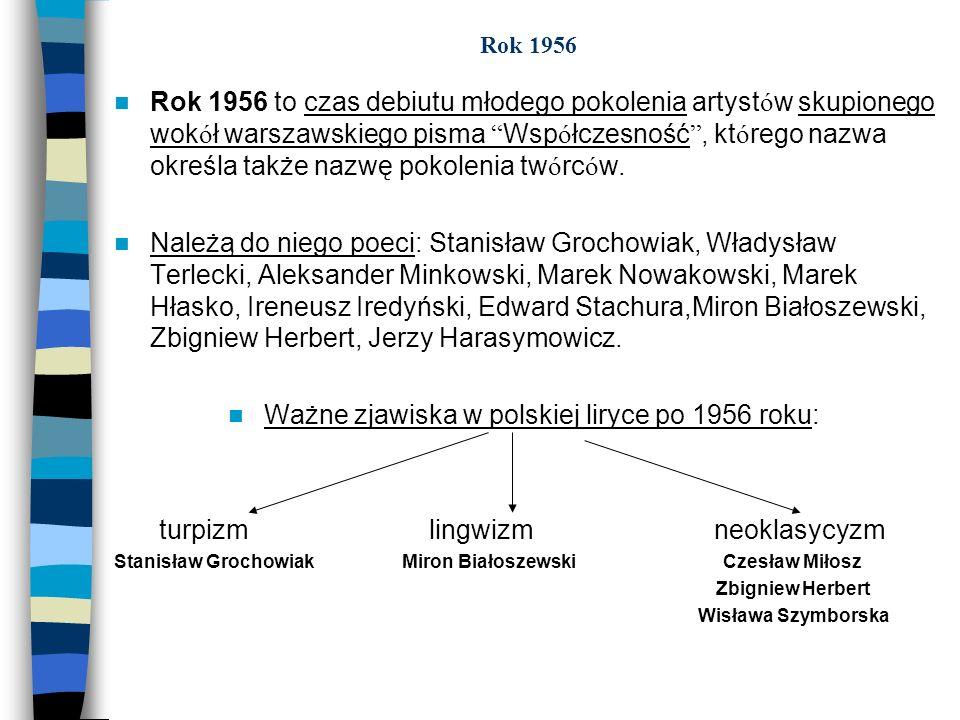 Ważne zjawiska w polskiej liryce po 1956 roku: