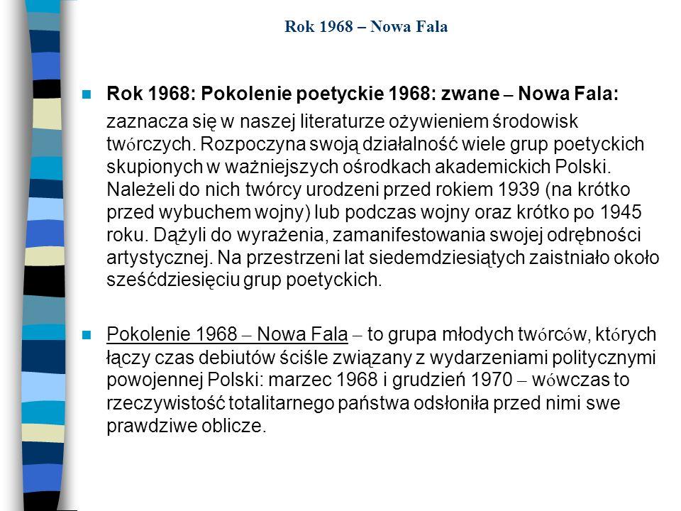 Rok 1968: Pokolenie poetyckie 1968: zwane – Nowa Fala: