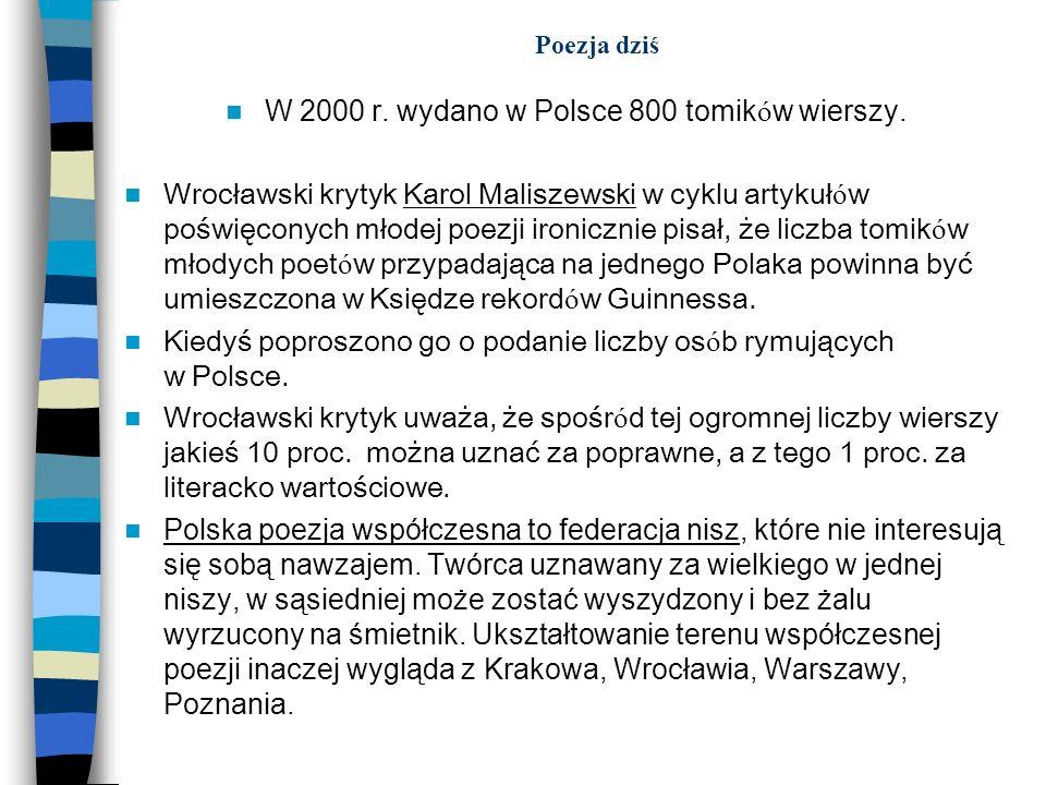 W 2000 r. wydano w Polsce 800 tomików wierszy.