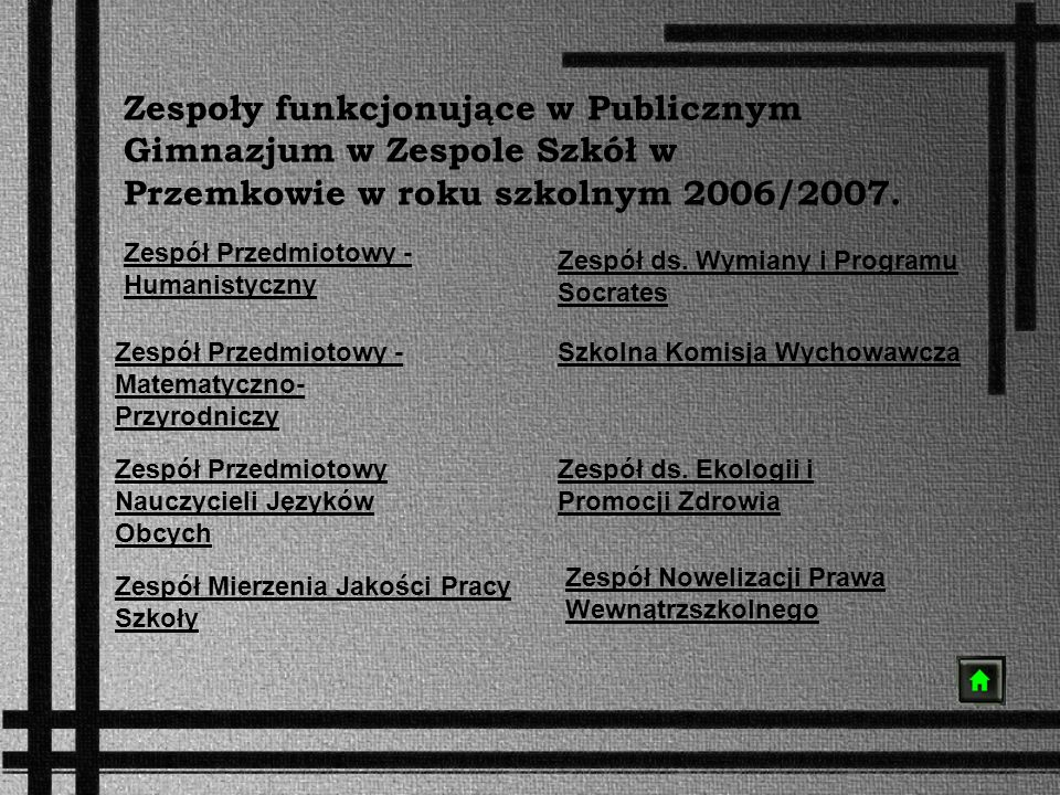 Zespoły funkcjonujące w Publicznym Gimnazjum w Zespole Szkół w Przemkowie w roku szkolnym 2006/2007.
