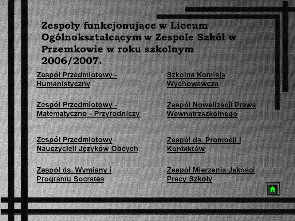 Zespoły funkcjonujące w Liceum Ogólnokształcącym w Zespole Szkół w Przemkowie w roku szkolnym 2006/2007.