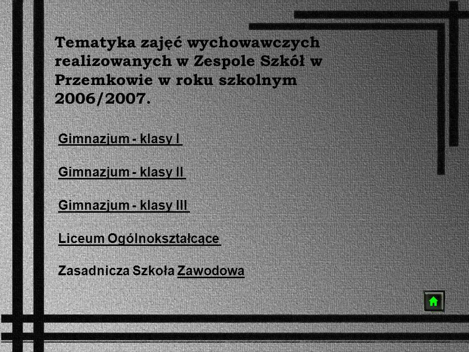 Tematyka zajęć wychowawczych realizowanych w Zespole Szkół w Przemkowie w roku szkolnym 2006/2007.