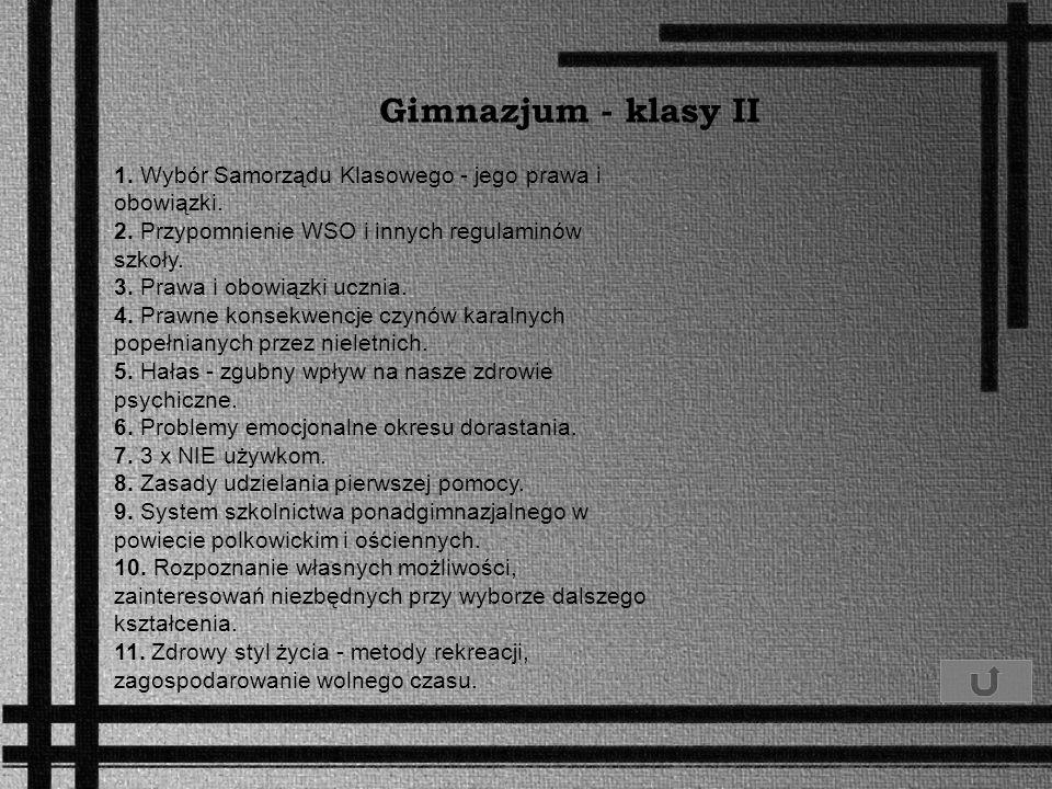 Gimnazjum - klasy II