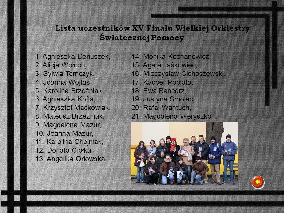 Lista uczestników XV Finału Wielkiej Orkiestry Świątecznej Pomocy