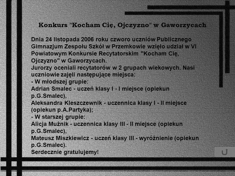 Konkurs Kocham Cię, Ojczyzno w Gaworzycach