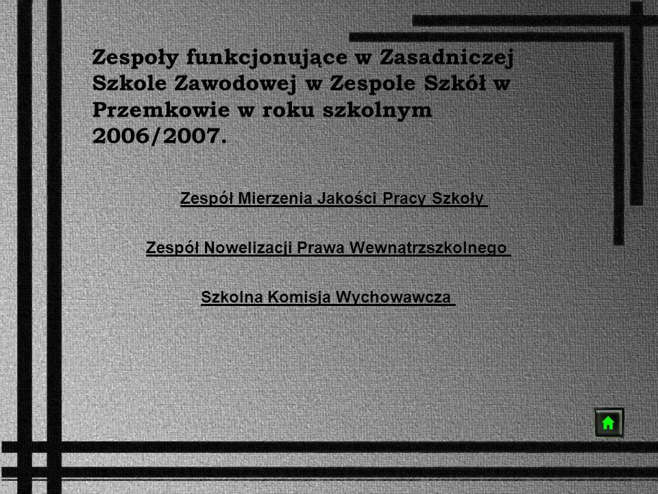 Zespoły funkcjonujące w Zasadniczej Szkole Zawodowej w Zespole Szkół w Przemkowie w roku szkolnym 2006/2007.