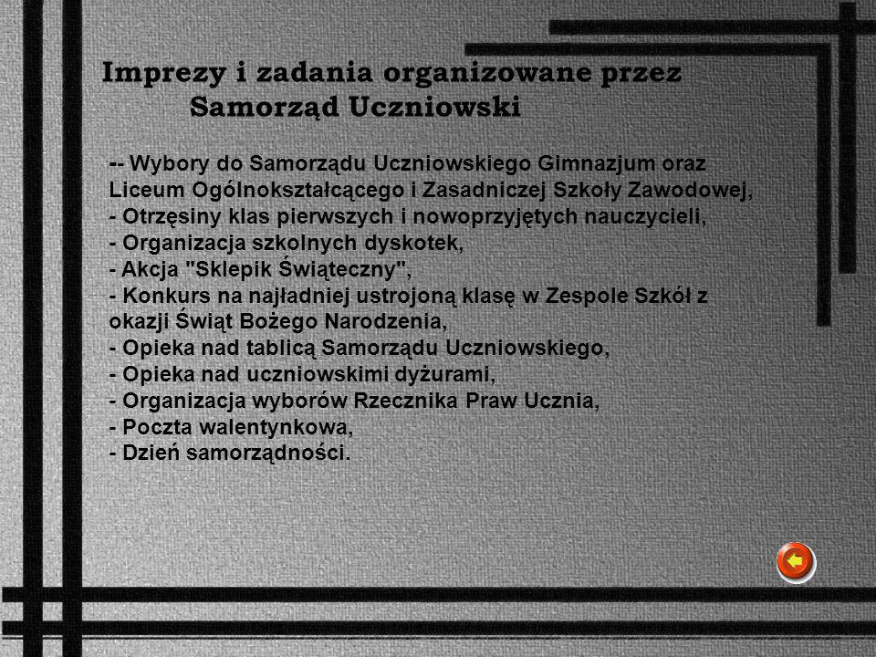 Imprezy i zadania organizowane przez Samorząd Uczniowski
