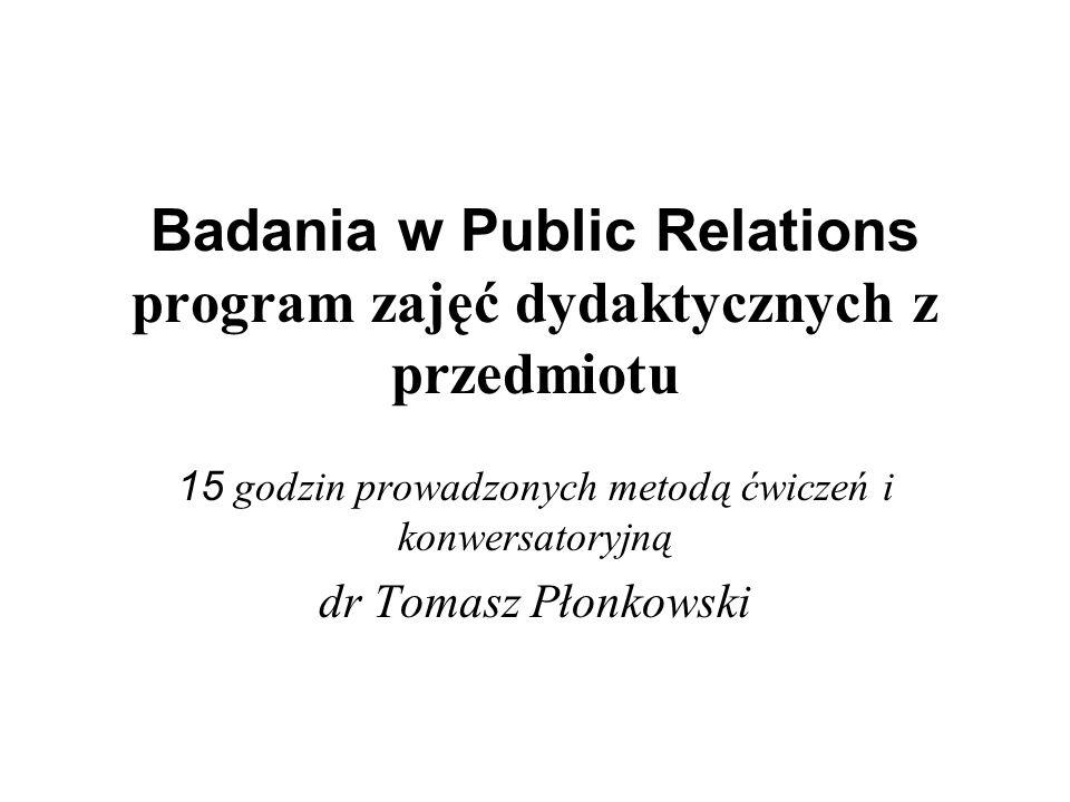 Badania w Public Relations program zajęć dydaktycznych z przedmiotu