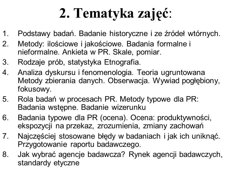 2. Tematyka zajęć: Podstawy badań. Badanie historyczne i ze źródeł wtórnych.