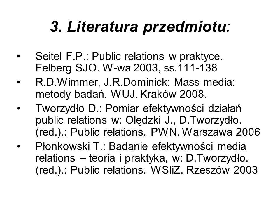 3. Literatura przedmiotu: