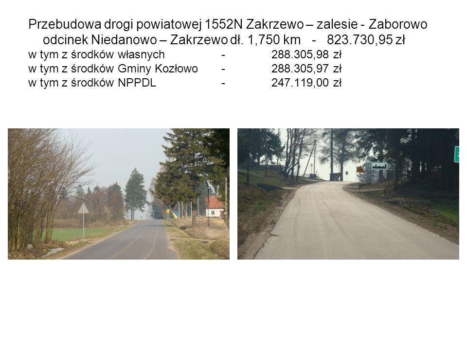 Przebudowa drogi powiatowej 1552N Zakrzewo – zalesie - Zaborowo odcinek Niedanowo – Zakrzewo dł.