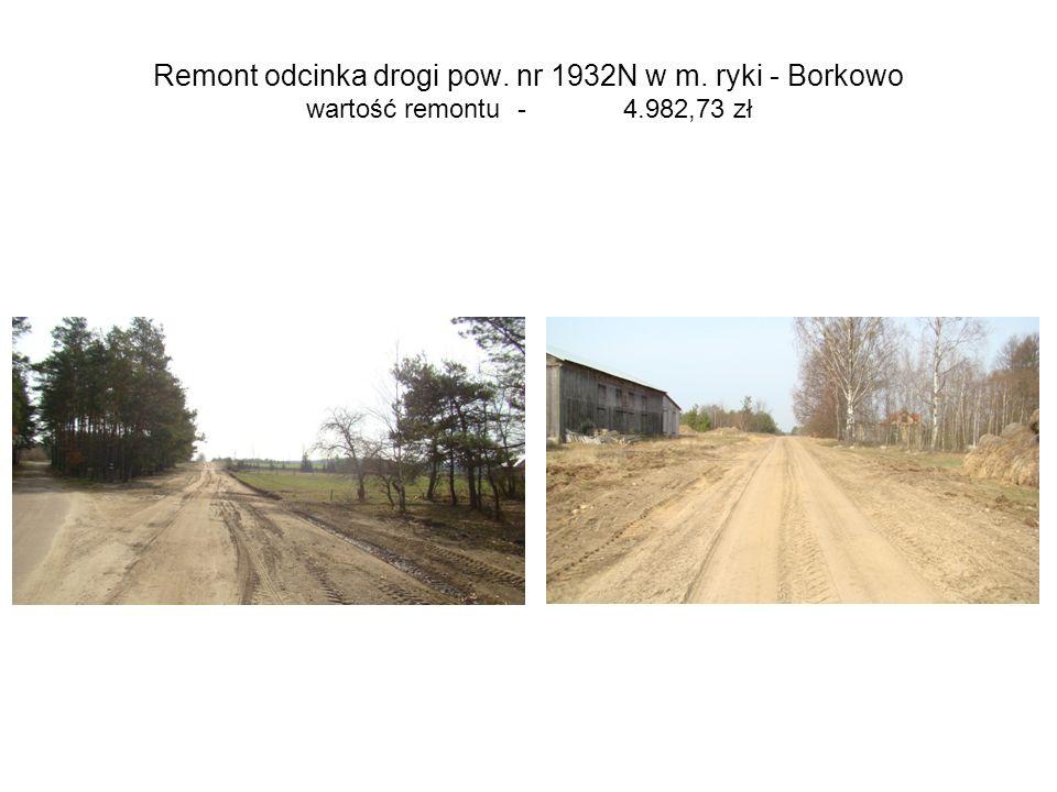 Remont odcinka drogi pow. nr 1932N w m. ryki - Borkowo wartość remontu