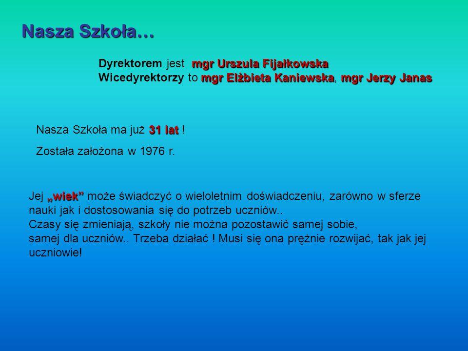 Nasza Szkoła… Dyrektorem jest mgr Urszula Fijałkowska Wicedyrektorzy to mgr Elżbieta Kaniewska, mgr Jerzy Janas.