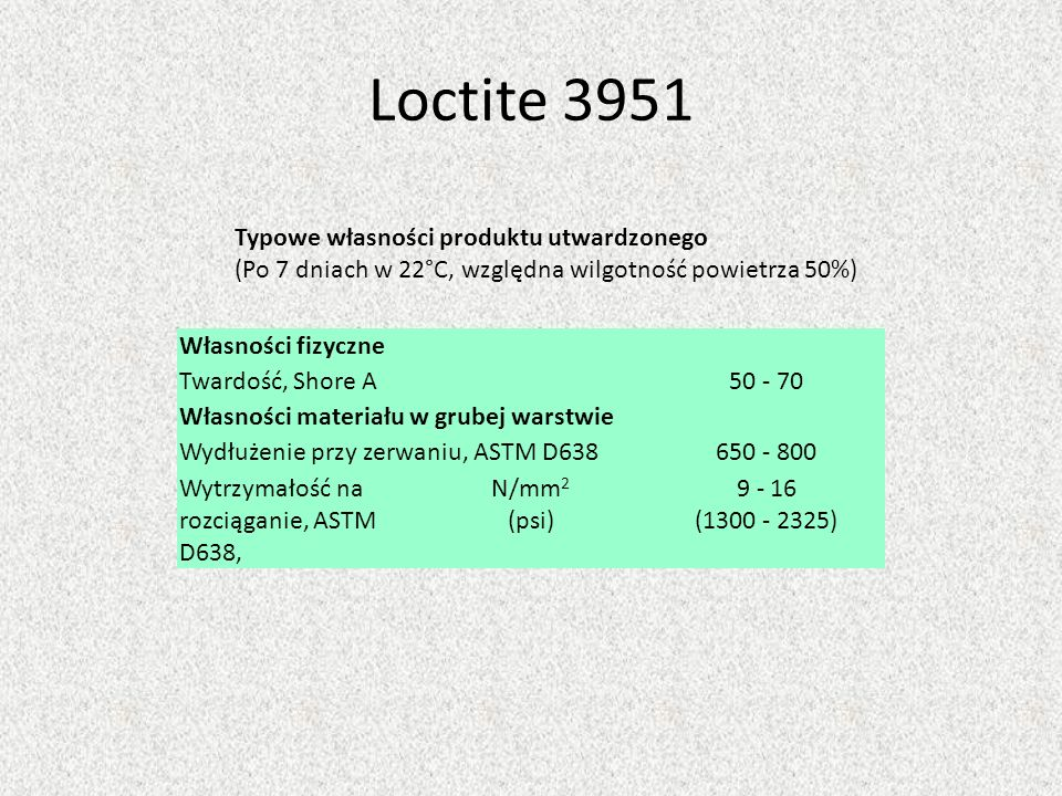 Loctite 3951Typowe własności produktu utwardzonego (Po 7 dniach w 22°C, względna wilgotność powietrza 50%)