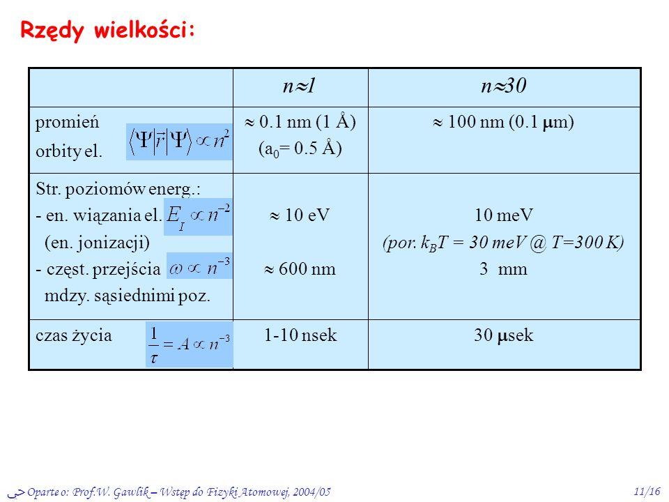 Rzędy wielkości: n30 n1 30 sek 1-10 nsek czas życia 10 meV