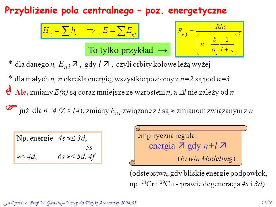Przybliżenie pola centralnego – poz. energetyczne