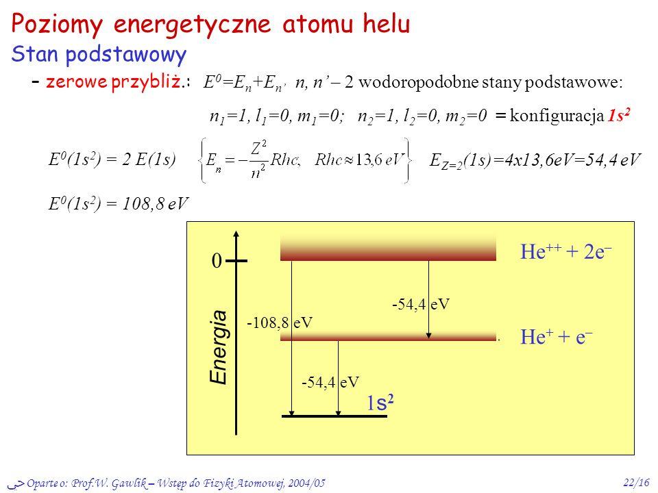 Poziomy energetyczne atomu helu