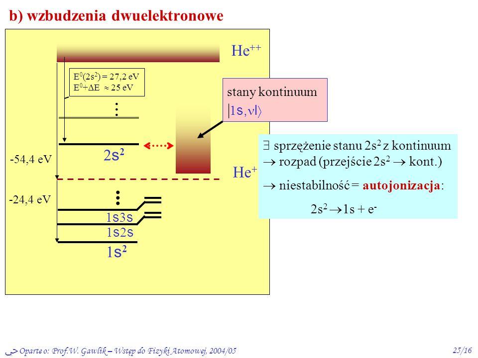 b) wzbudzenia dwuelektronowe