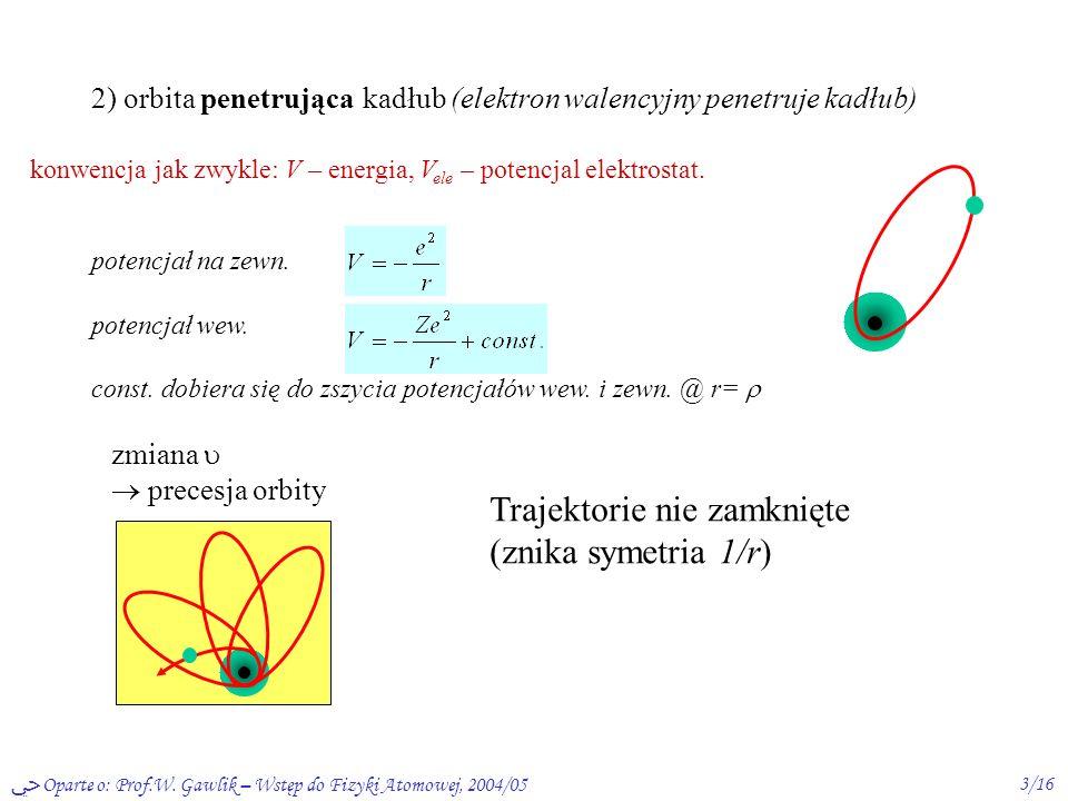 Trajektorie nie zamknięte (znika symetria 1/r)