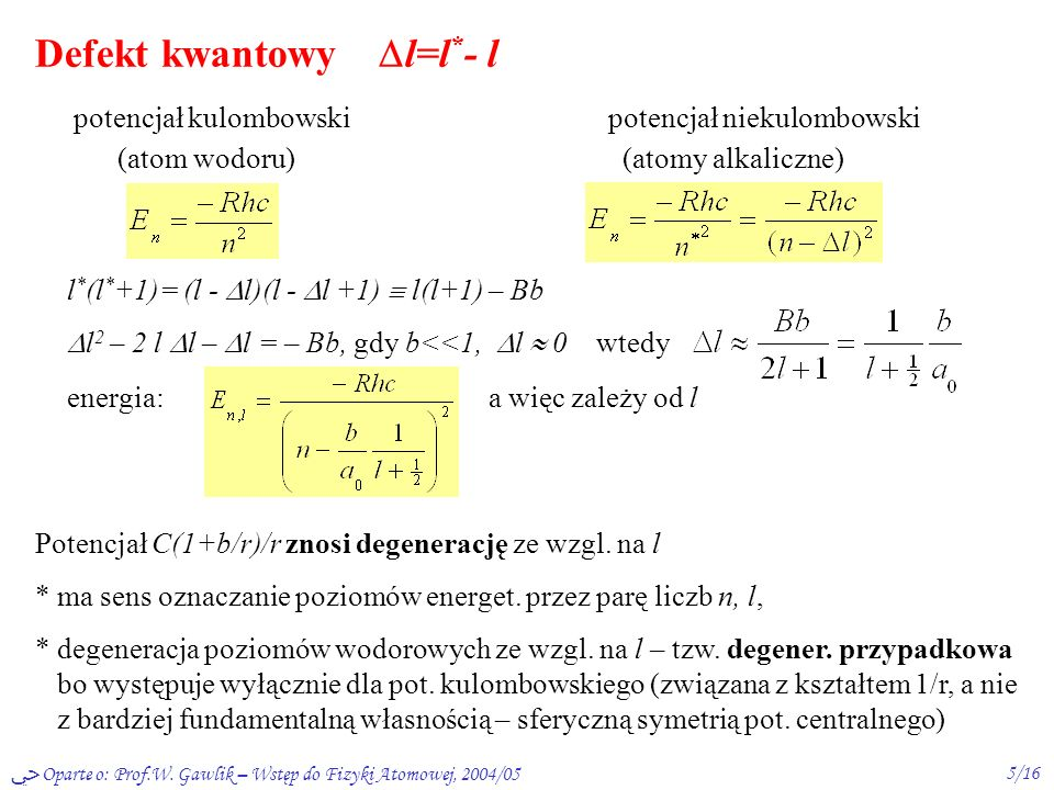 Defekt kwantowy l=l*- l