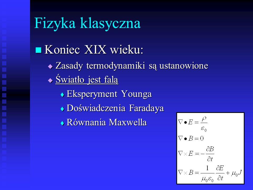Fizyka klasyczna Koniec XIX wieku: Zasady termodynamiki są ustanowione