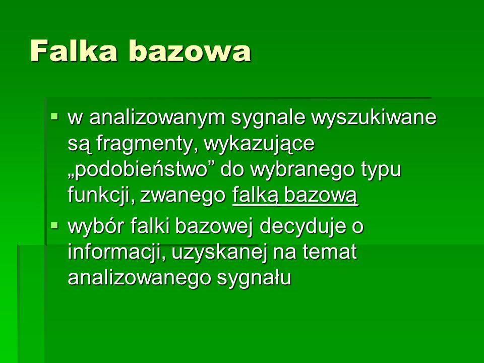 """Falka bazowaw analizowanym sygnale wyszukiwane są fragmenty, wykazujące """"podobieństwo do wybranego typu funkcji, zwanego falką bazową."""