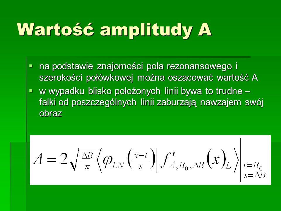Wartość amplitudy A na podstawie znajomości pola rezonansowego i szerokości połówkowej można oszacować wartość A.