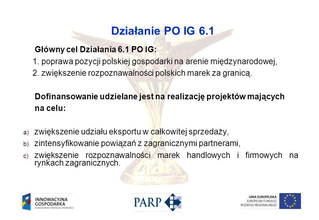 Działanie PO IG 6.1 Główny cel Działania 6.1 PO IG: