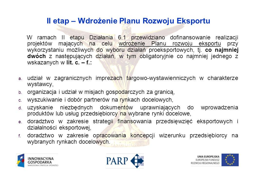 II etap – Wdrożenie Planu Rozwoju Eksportu