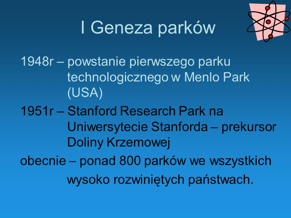 I Geneza parków1948r – powstanie pierwszego parku technologicznego w Menlo Park (USA)