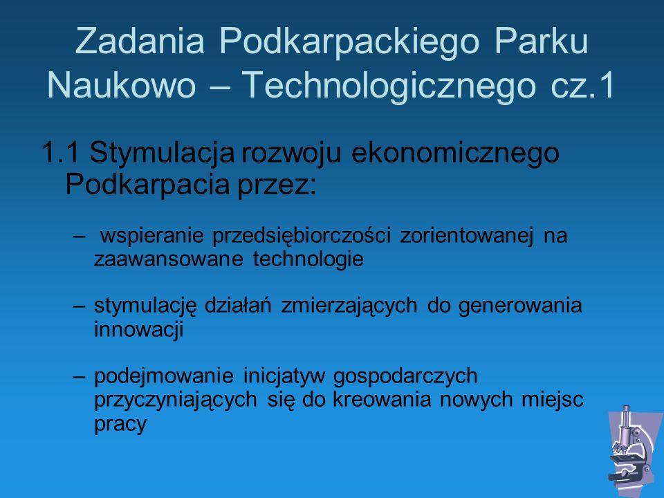 Zadania Podkarpackiego Parku Naukowo – Technologicznego cz.1