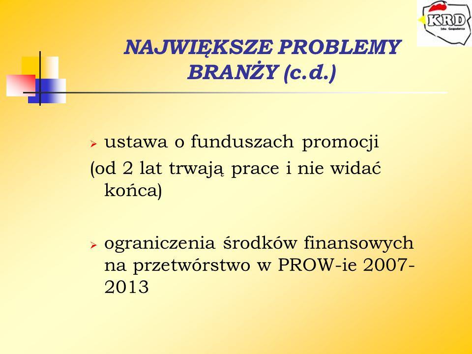 NAJWIĘKSZE PROBLEMY BRANŻY (c.d.)