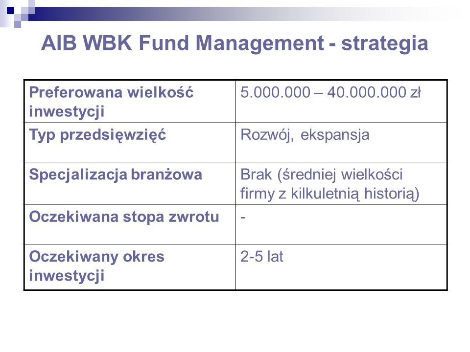 AIB WBK Fund Management - strategia