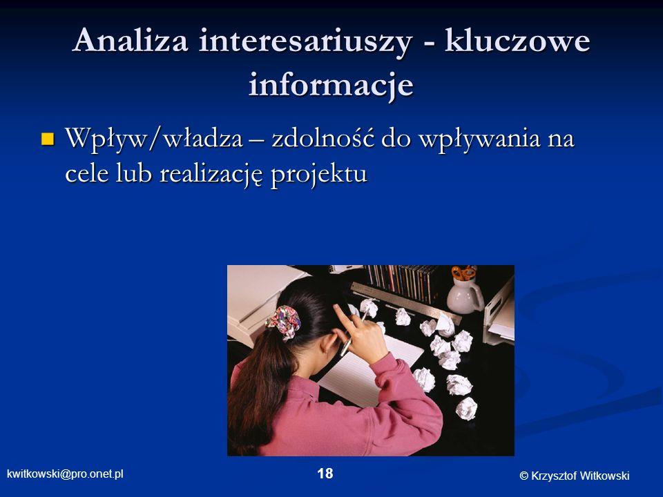 Analiza interesariuszy - kluczowe informacje