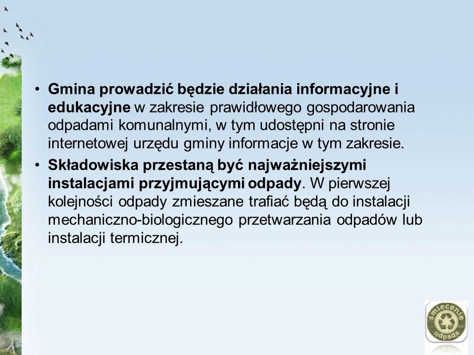 Gmina prowadzić będzie działania informacyjne i edukacyjne w zakresie prawidłowego gospodarowania odpadami komunalnymi, w tym udostępni na stronie internetowej urzędu gminy informacje w tym zakresie.