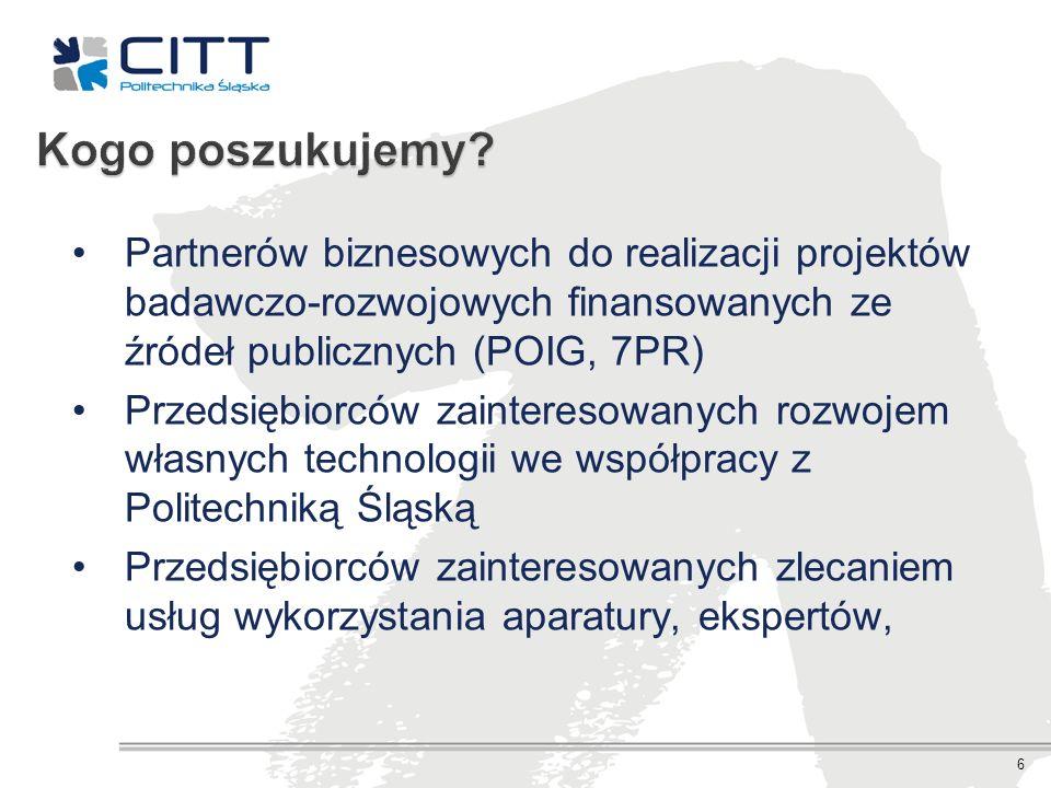 Kogo poszukujemy Partnerów biznesowych do realizacji projektów badawczo-rozwojowych finansowanych ze źródeł publicznych (POIG, 7PR)