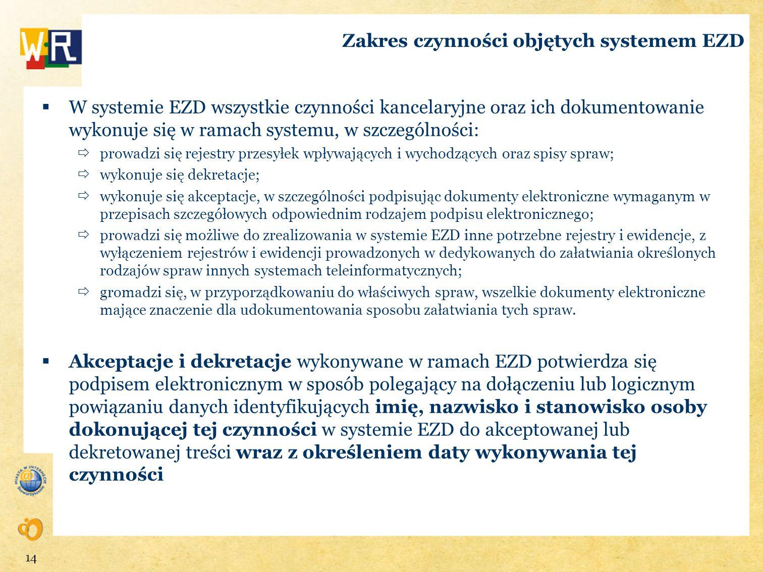 Zakres czynności objętych systemem EZD
