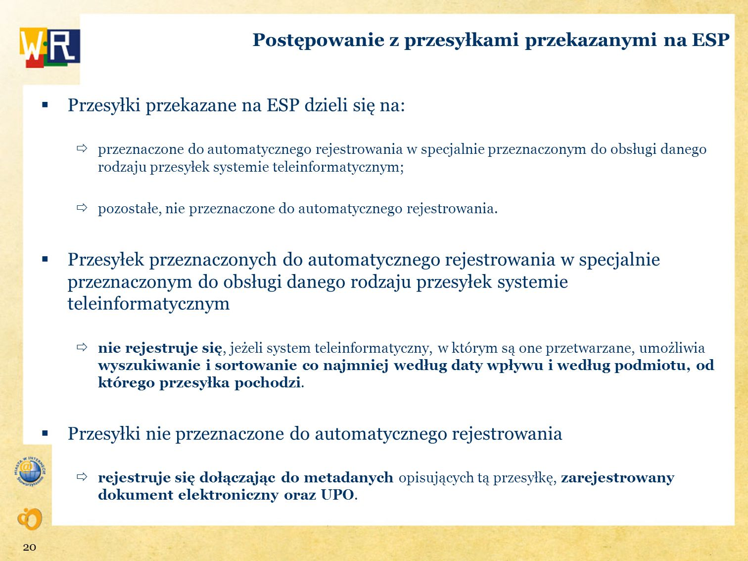 Postępowanie z przesyłkami przekazanymi na ESP