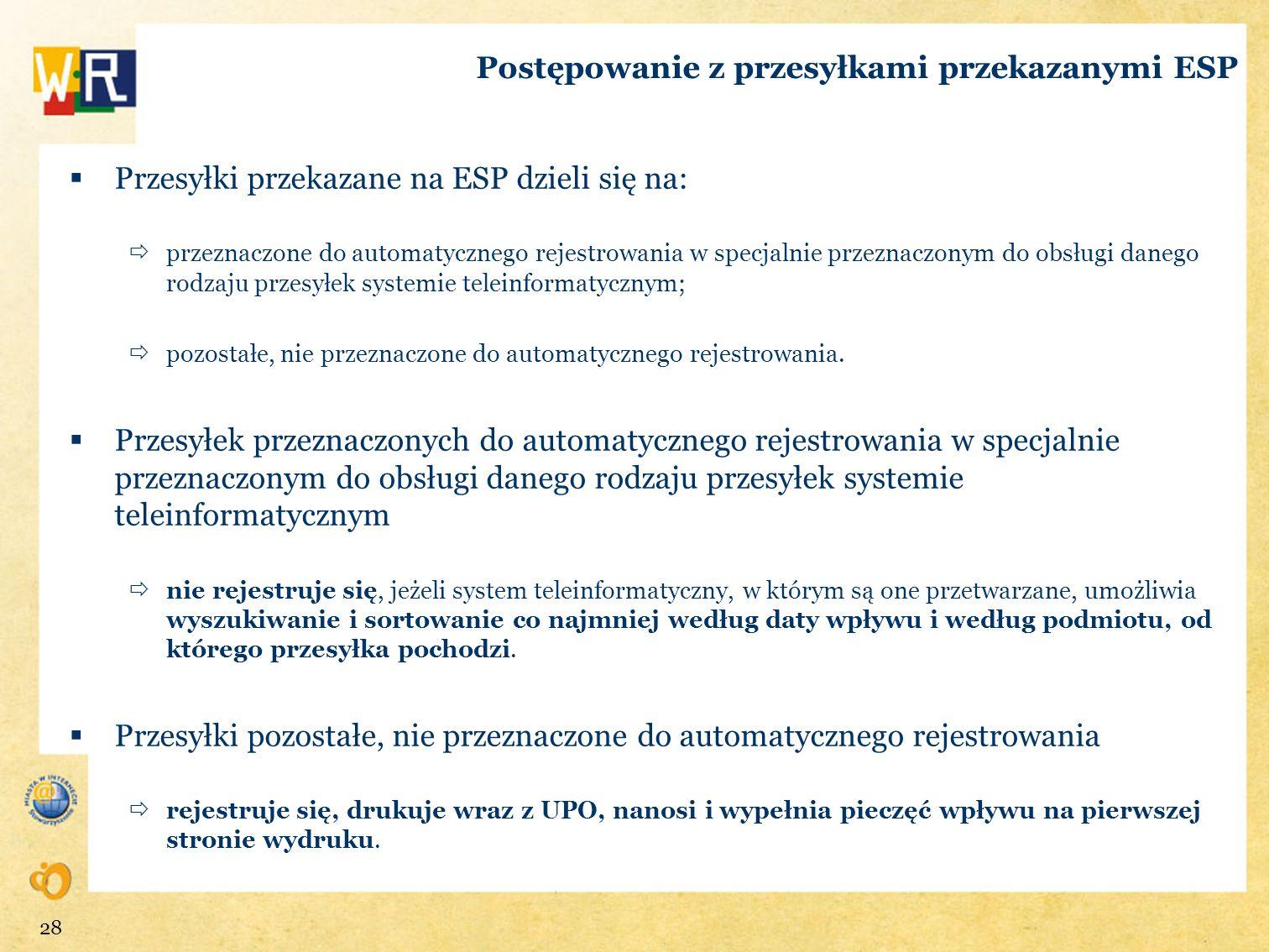 Postępowanie z przesyłkami przekazanymi ESP