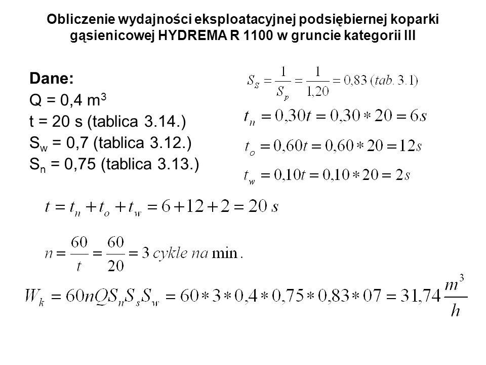 Dane: Q = 0,4 m3 t = 20 s (tablica 3.14.) Sw = 0,7 (tablica 3.12.)