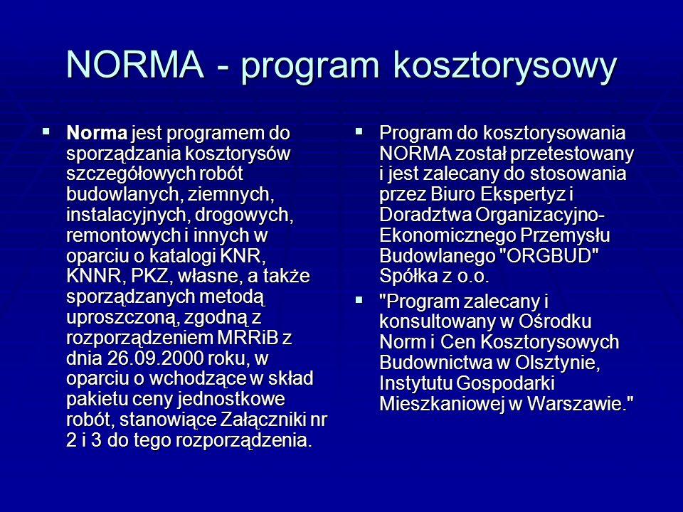 NORMA - program kosztorysowy