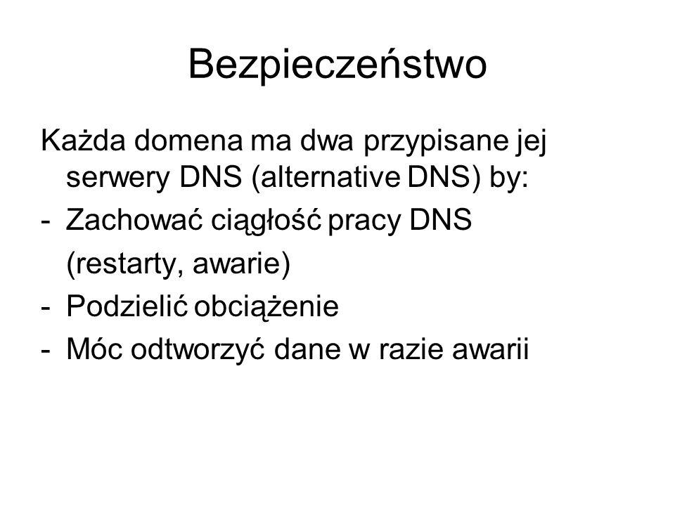 Bezpieczeństwo Każda domena ma dwa przypisane jej serwery DNS (alternative DNS) by: Zachować ciągłość pracy DNS.
